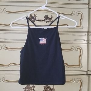 Navy Blue American Flag Croppes Tank